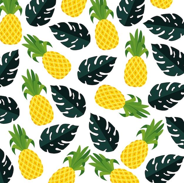 Modèle d'été avec des plantes ananas et feuilles tropicales