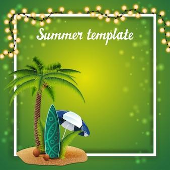 Modèle d'été pour vos arts avec guirlande et place pour le texte