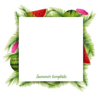 Modèle d'été pour votre créativité sous la forme d'une feuille de papier