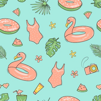 Modèle d'été sans couture avec flamants roses, planche de surf, feuilles de palmier, sac de plage et appareil photo. fond dans le style de doodle.