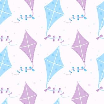 Modèle d'été sans soudure de vecteur. cerfs-volants de dessin animé sur un ruban avec des arcs. jouets pour enfants et activités de plein air pour les vacances. conception de fond ou de papier d'emballage