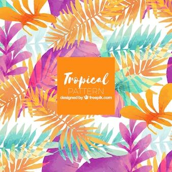 Modèle d'été tropical avec des plantes aquarelles