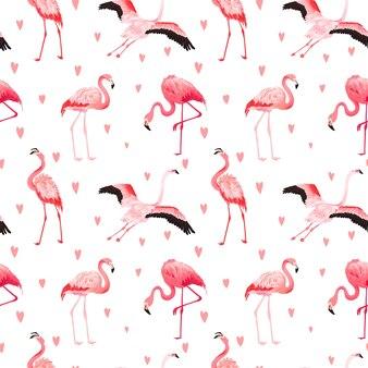 Modèle d'été vectorielle continue de flamant tropical avec des coeurs. fond d'oiseau rose exotique pour fonds d'écran, page web, texture, textile. conception de la faune animale