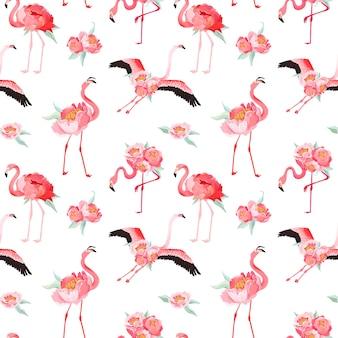 Modèle d'été vectorielle continue de flamant tropical avec des fleurs de pivoine. fond floral et oiseau pour fonds d'écran, page web, texture, textile, toile de fond