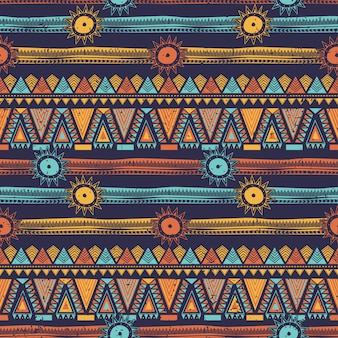 Modèle ethnique sans soudure bohème à rayures tribales