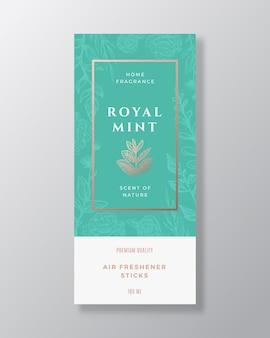 Modèle d'étiquette abstraite de parfum de maison d'épice de menthe.