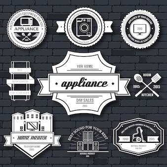 Modèle d'étiquette d'appareils électroménagers de l'élément emblème pour votre produit ou votre design