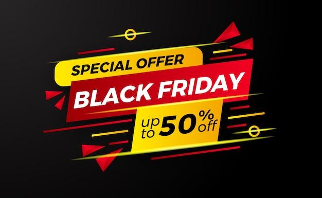 Modèle d'étiquette de bannière abstraite vendredi noir vente discount avec couleur rouge et jaune pour les achats de magasin de commerce de détail