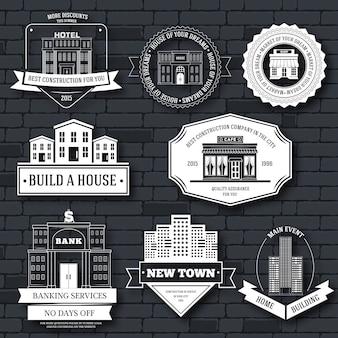 Modèle d'étiquette de bâtiments de ville d'élément d'emblème pour votre produit ou votre conception