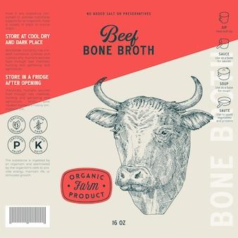 Modèle d'étiquette de bouillon d'os de boeuf vecteur abstrait mise en page de conception d'emballage alimentaire dessiné à la main taureau ou vache h...