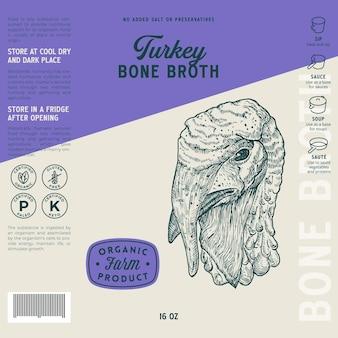Modèle d'étiquette de bouillon d'os de volaille abstract vector food packaging design layout hand drawn dinde heat...
