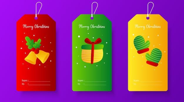 Modèle d'étiquette de cadeau mignon joyeux noël. étiquette de noël