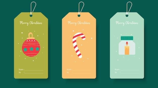 Modèle D'étiquette De Cadeau Mignon Joyeux Noël. étiquette De Noël Vecteur Premium