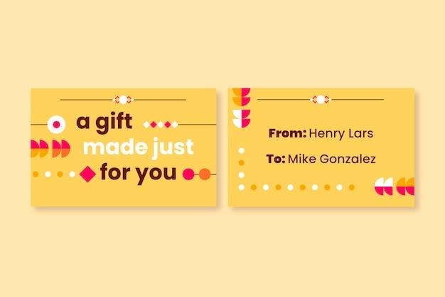 Modèle d'étiquette de cadeau ornemental moderne