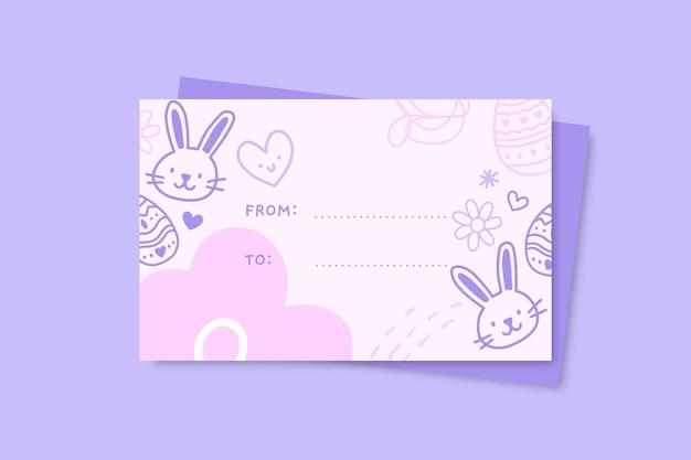 Modèle d'étiquette de cadeau de pâques doodle dessiné à la main