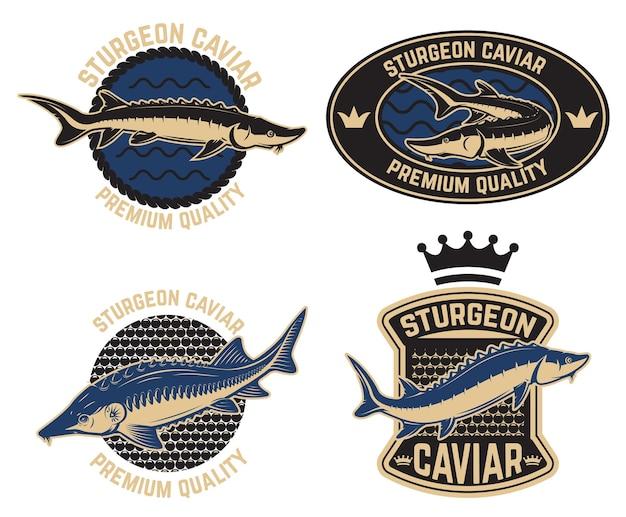 Modèle d'étiquette de caviar d'esturgeon.