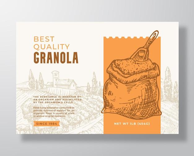 Modèle d'étiquette de céréales granola. disposition de conception d'emballage de vecteur abstrait de farine d'avoine. bannière de typographie moderne avec sac à grains dessinés à la main avec scoop et fond de paysage rural. isolé.