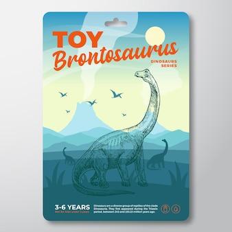 Modèle d'étiquette de dinosaure jouet vecteur abstrait emballage conception mise en page typographie moderne