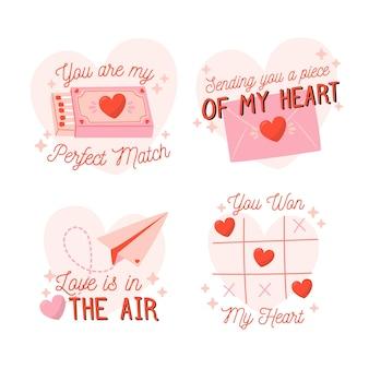 Modèle d'étiquette de fête de la saint-valentin dessiné à la main