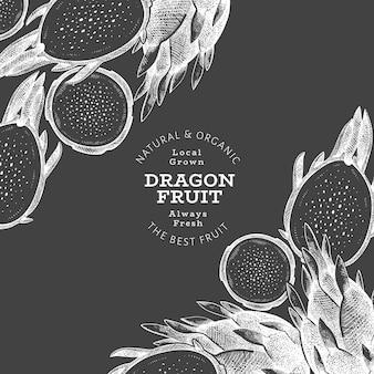 Modèle d'étiquette de fruit du dragon dessiné à la main.