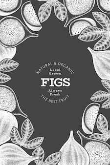 Modèle d'étiquette de fruits figues dessinés à la main