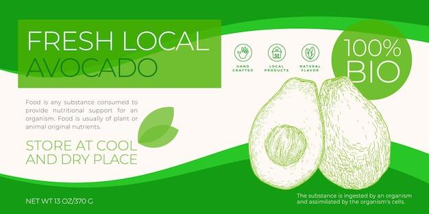 Modèle d'étiquette de fruits et légumes frais locaux abstrait vectoriel emballage mise en page de conception horizontale ...