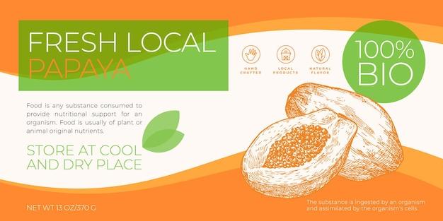 Modèle d'étiquette de fruits locaux frais emballage vectoriel abstrait mise en page de conception horizontale typographie moderne...