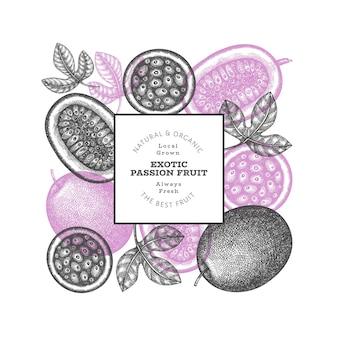 Modèle d'étiquette de fruits de la passion style croquis dessinés à la main