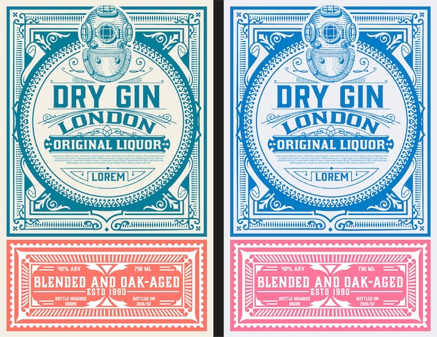 Modèle D'étiquette De Gin Vintage Vecteur Premium