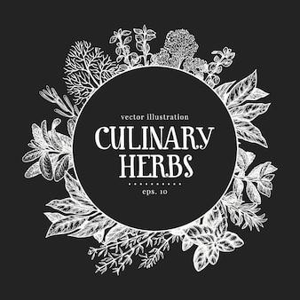 Modèle d'étiquette d'herbes culinaires dessinés à la main.
