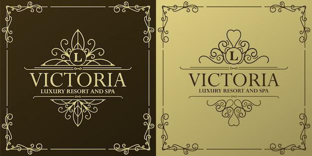 Modèle d'étiquette d'hôtel de luxe. illustration de cadres d'ornement royal vintage à la mode.