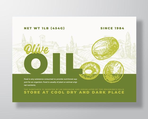 Modèle d'étiquette d'huile d'olive vecteur abstrait emballage conception mise en page bannière de typographie moderne avec main ...