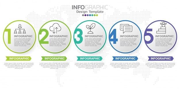 Modèle d'étiquette infographique avec des icônes et cinq options ou étapes.