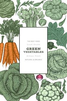 Modèle d'étiquette de légumes de couleur vintage dessinés à la main.