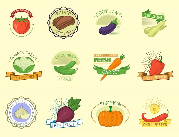 Modèle d'étiquette de légumes.