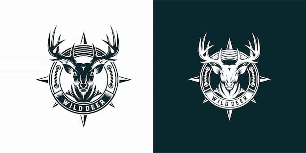 Modèle d'étiquette et de logo de cerf sauvage vintage