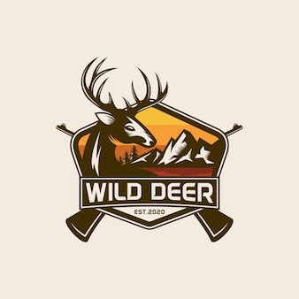 Modèle d'étiquette et de logo vintage wild nature deer