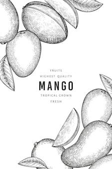 Modèle d'étiquette de mangue style croquis dessinés à la main