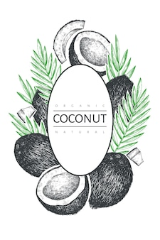 Modèle d'étiquette de noix de coco avec des feuilles de palmier.