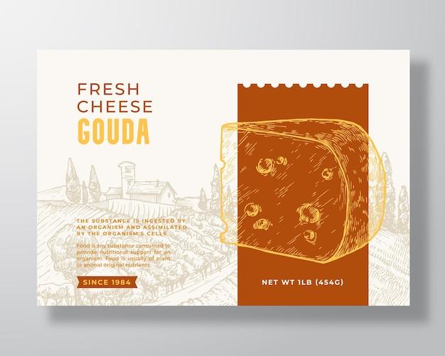 Modèle d'étiquette de nourriture gouda frais résumé vecteur emballage conception mise en page typographie moderne bannière avec...