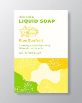 Modèle d'étiquette de paquet de savon liquide formes abstraites camo fond vecteur couverture cosmétiques emballage ...
