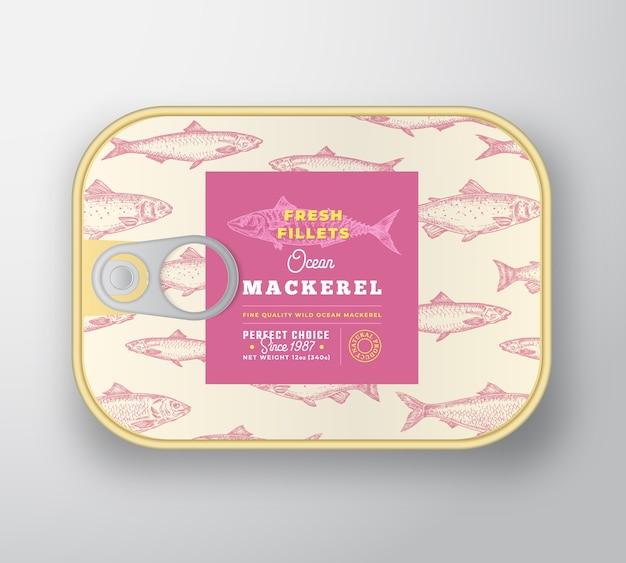 Modèle d'étiquette de poisson en conserve.
