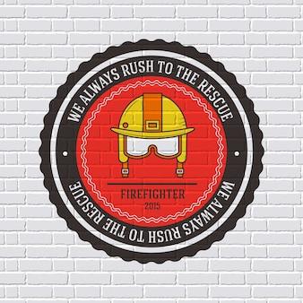 Modèle d'étiquette de pompier de l'élément emblème pour votre produit ou votre conception