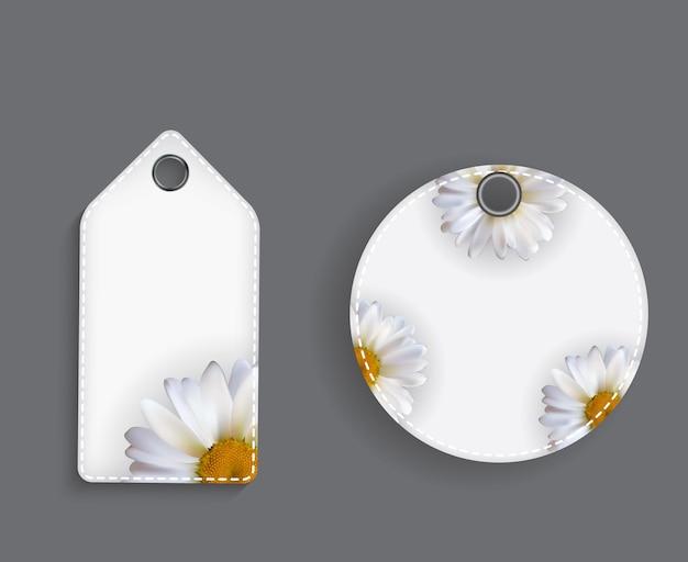 Modèle d'étiquette de prix abstrait avec fleur de camomille
