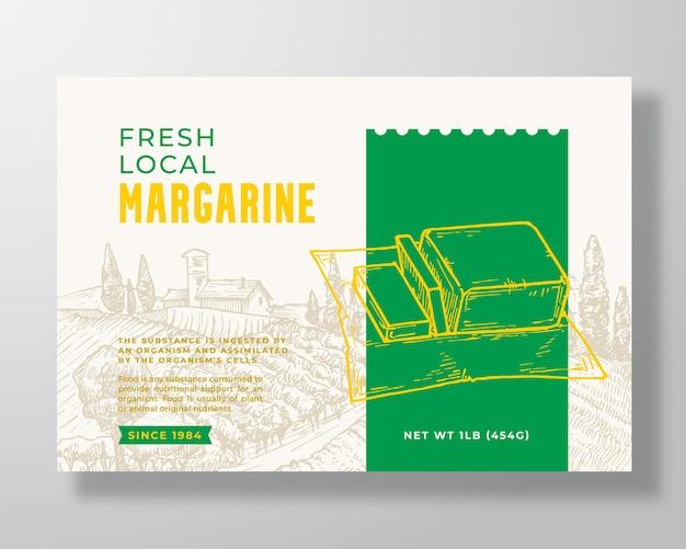 Modèle d'étiquette de produits laitiers margarine vecteur abstrait emballage conception mise en page typographie moderne bannière...