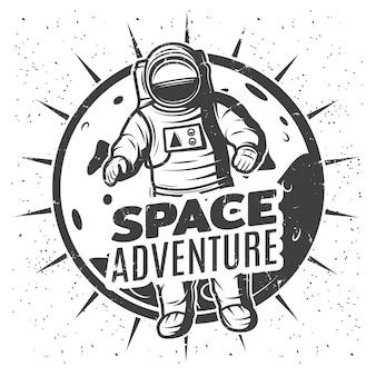 Modèle d'étiquette de recherche spatiale vintage monochrome