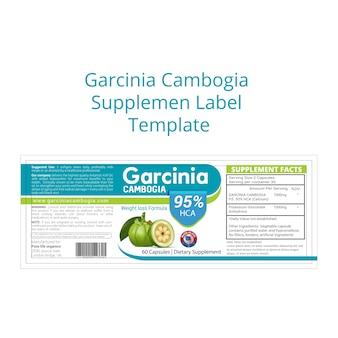 Modèle d'étiquette de supplément de garcinia cambogia