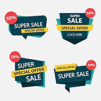 Modèle d'étiquette de vente shopping coloré