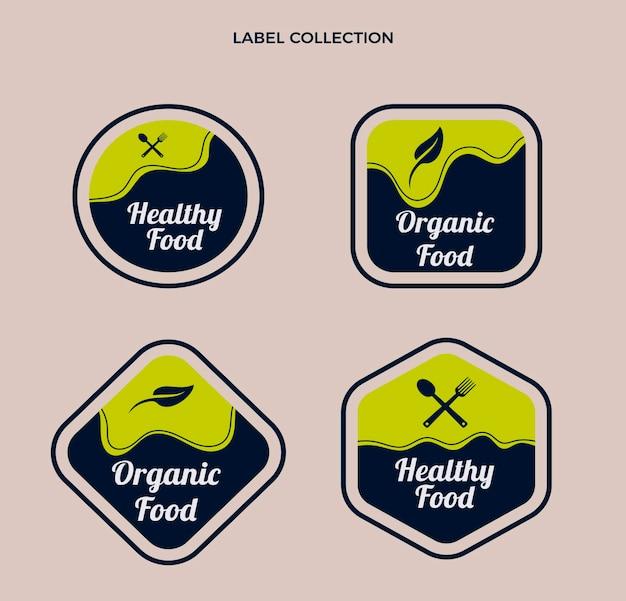 Modèle d'étiquettes alimentaires design plat