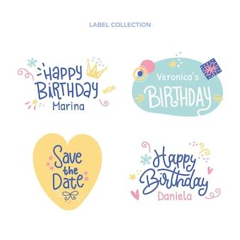Modèle d'étiquettes d'anniversaire dessinés à la main